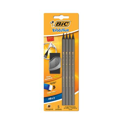 Kit-Escrita-Bic-Evolution-4-Lapis-HB-Nº2-e-1-Borracha-com-Capa-Plastica