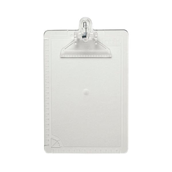 Prancheta-Dello-1-2-Oficio-Acrilico-Cristal-com-Prendedor-de-Plastico-23x16cm