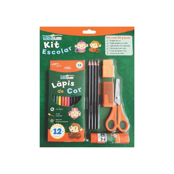 Kit-Escolar-Leonora-com-Lapis-de-Cor-Lapis-HB-Nº2-Borracha-Tesoura-Cola-Bastao-e-Apontador