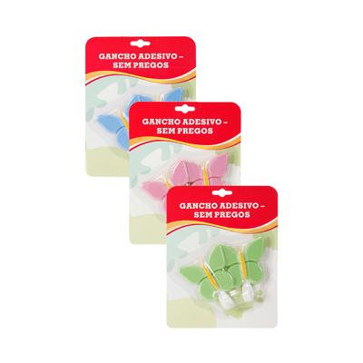Gancho-Le-Adesivo-Borboleta-Fixa-Facil-Cores-Diversas-com-2-Pecas