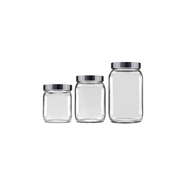 Conjunto-de-Potes-para-Mantimentos-Invicta-Metalizado-Onix-com-3-Pecas