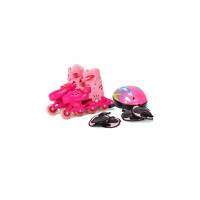 Kit-Patins-Le-Capacete-e-Protetor-Rosa-Tamanho-39-a-42