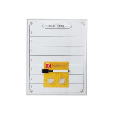 Quadro-Magnetico-Branco-Le-Agenda-Semanal-com-2-Imas-e-Marcador-28x355cm