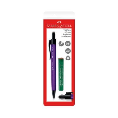 Lapiseira-Faber-Castell-Tri-Clik-0.5mm-Cores-Sortidas-com-Mina-Refil-0.5mm