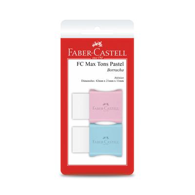 Borracha-Faber-Castell-Max-Branca-Capa-Plastica-Tons-Pastel-Cores-Diversas-com-2-Unidades