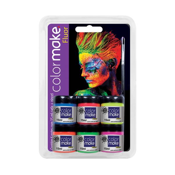 Kit-Tinta-Facial-Colormake-Neon-com-6-Cores-15ml-e-Pincel