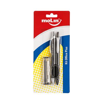 Kit-Caneta-Esferografica-Molin-0.7mm-Azul-e-Lapiseira-0.7mm-com-Refil