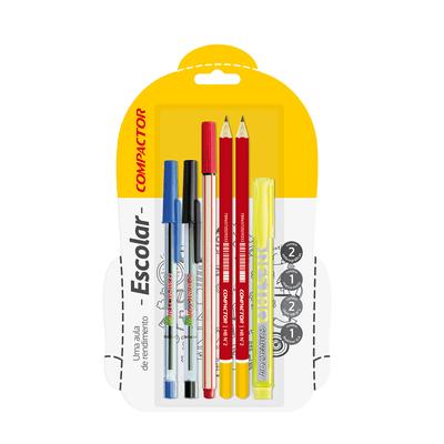 Kit-Escrita-Compactor-com-3-Canetas-2-Lapis-e-1-Marca-Texto-Amarelo