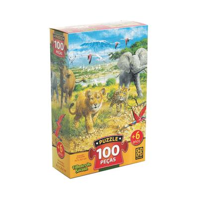 Quebra-Cabeca-Grow-Filhotes-da-Savana-com-100-Pecas