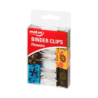 Binder-Clips-Molin-Decorado-Flores-32mm-com-06-Unidades