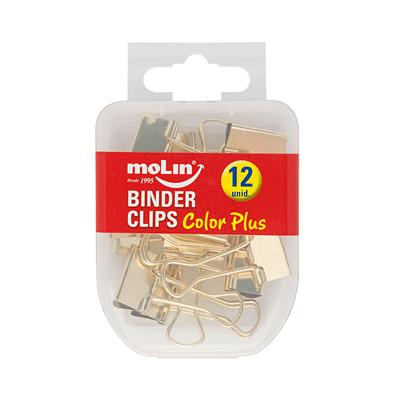 Binder-Clips-Molin-Dourado-19mm-com-12-Unidades