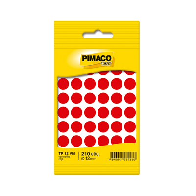Etiqueta-Adesiva-Pimaco-Circular-TP-12-Vermelho-com-350-Unidades