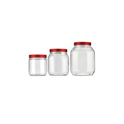 Conjunto-de-Potes-para-Mantimentos-Invicta-Liso-Vermelho-com-3-Pecas