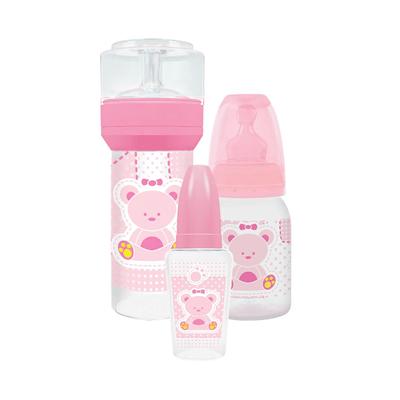 Kit-Mamadeira-Lillo-Primeiros-Passos-Rosa-com-3-Unidades