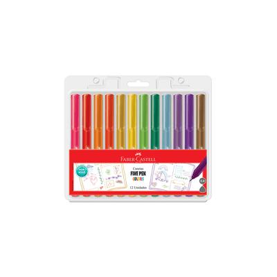 Caneta-Esferografica-Faber-Castell-Fine-Pen-0.4mm-Colors-com-12-Unidades
