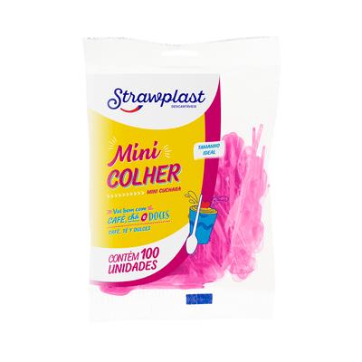 Mini-Colher-Strawplast-com-100-Unidades-Rosa