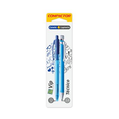 Kit-Caneta-Esferografica-Compactor-0.7mm-Vip-e-Lapiseira-2.0mm-Azul