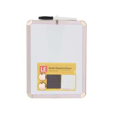 Quadro-Magnetico-Branco-Le-com-2-Imas-e-Marcador-Moldura-Rose-21x27cm