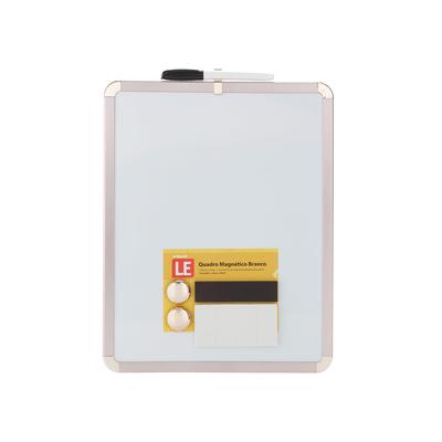 Quadro-Magnetico-Branco-Le-com-2-Imas-e-Marcador-Moldura-Rose-27x35cm