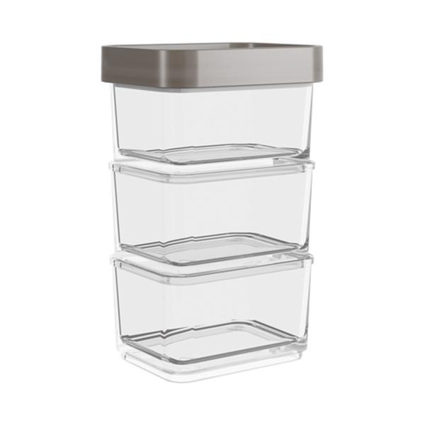 Conjunto-de-Potes-Clear-Coza-Micro-100ml-Cinza-com-3-Pecas
