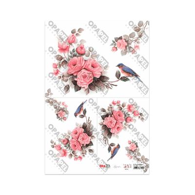 Papel-para-Decoupage-Opa-30x45-Flor-Rosas-e-Passaros