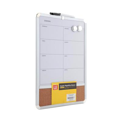 Quadro-Magnetico-Branco-Le-Planejamento-Semanal-com-Cortica-2-Imas-e-Marcador-27x43cm