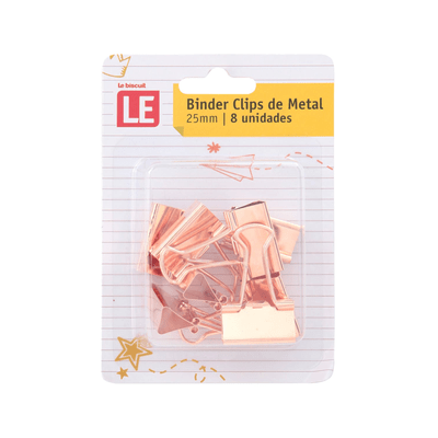 Blinder-Clip-Metalico-Le-Rose-25mm-com-8-Unidades