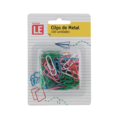 Clip-Metalico-Le-Colorido-28mm-com-100-Unidades