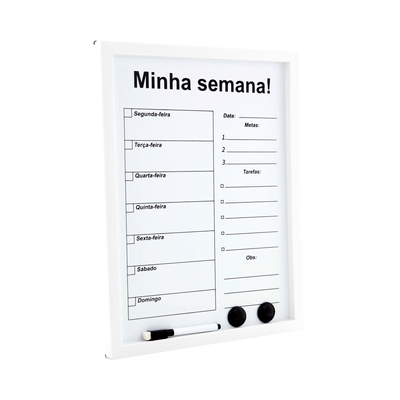 Quadro-Magnetico-Branco-Le-Planejamento-Semanal-com-2-Imas-e-Marcador-30x40cm