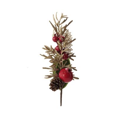 Haste-Natalina-Roma-e-Berries-Grillo-com-2-Flores-Vermelha-e-Verde-com-Glitter