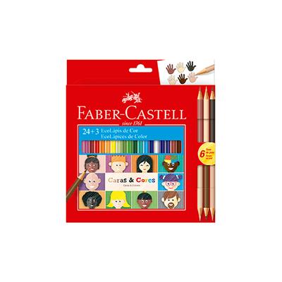 Lapis-de-Cor-Faber-Castell-Caras---Cores-24-Cores-e-3-Tons-de-Pele